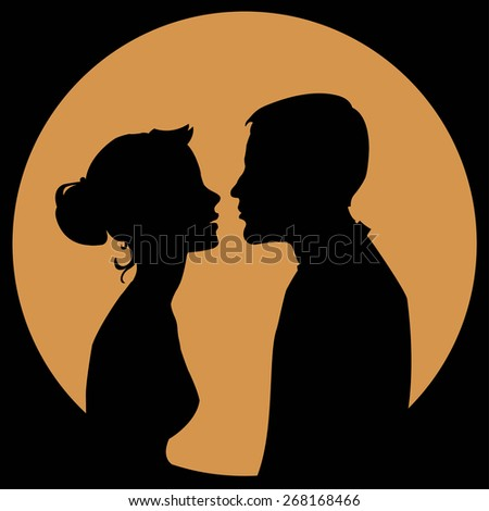 silhouette of a couple in love on a yellow background