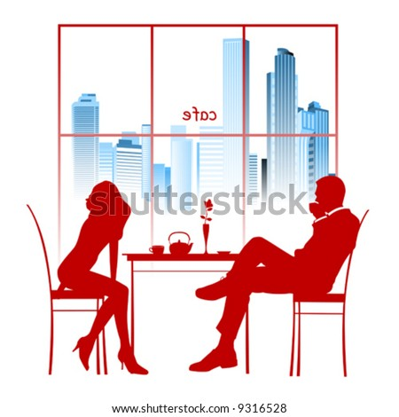Silhouette of a couple in the cafe. Vector illustration - stock vector