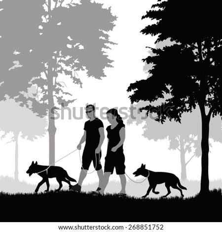 Silhouette of a couple walking their dogs. Vector illustration - stock vector