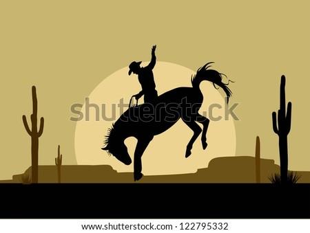 Silhouette of a cowboy riding a wild horse, Vector - stock vector