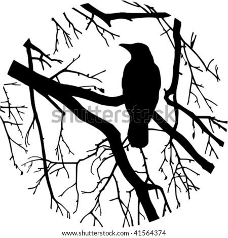 Silhouette of a crow - stock vector