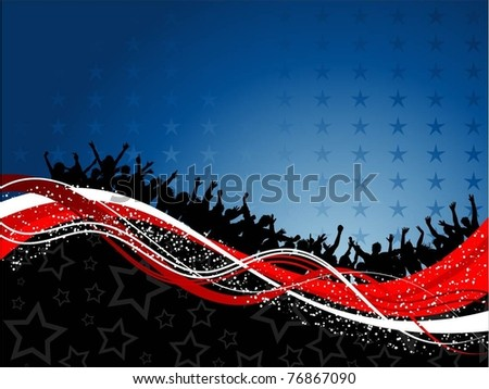 Silhouette of a crowd of party people on a fourth of July themed background - stock vector