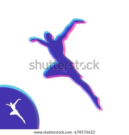 Silhouette Dancer Gymnast Man Posing Dancing Stock Vector 678576622