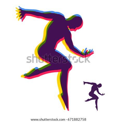 Silhouette Dancer Gymnast Man Posing Dancing Stock Vector 671882758
