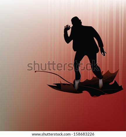 Silhouette of a dancing man in a falling leaf. Vector illustration - stock vector