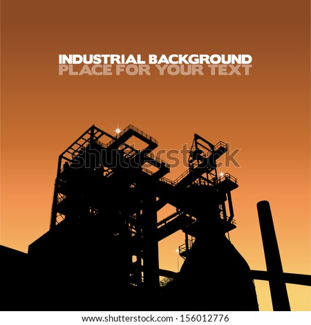 Silhouette of a factory with sunrise, vector illustration with place for your text