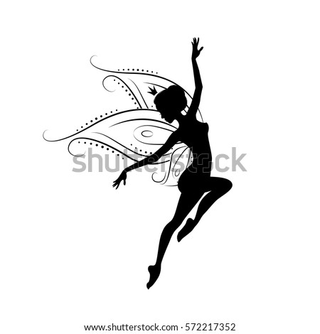 fairy cut out template - pretty glamorous witch flying on broomstick stock