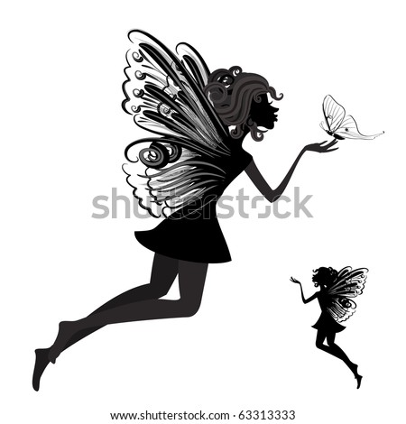 Silhouette of a fairy with butterfly - stock vector