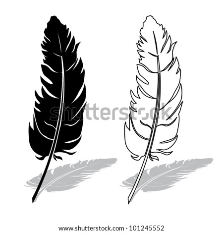 Silhouette of a feather pen, black and white composition with shadow, vector illustration - stock vector