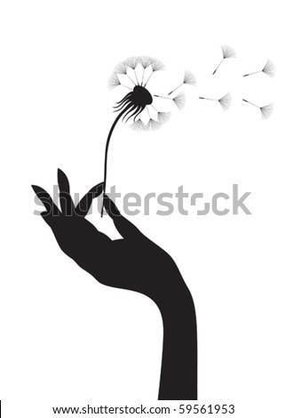 Silhouette of a female hand holding dandelion. Vector illustration. - stock vector