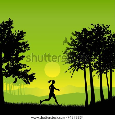 Silhouette of a female jogging in the countryside - stock vector