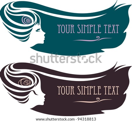 silhouette of a female profile with a hairdo. - stock vector