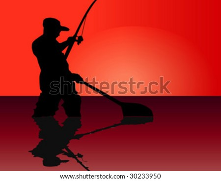 silhouette of a fisherman at sunrise - stock vector