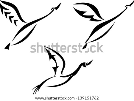 Silhouette of a flying swans - stock vector