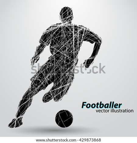 silhouette of a football player from wires text and background on a separate layer