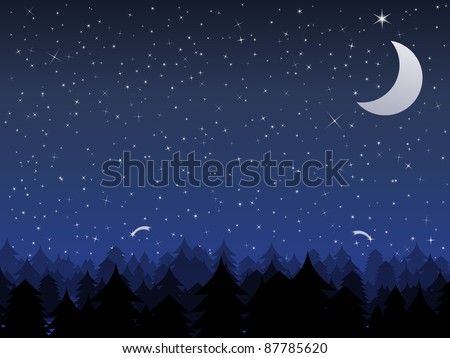Silhouette of a forest and night sky with stars and moon, vector illustration