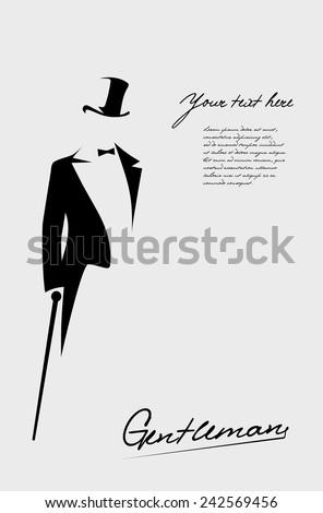 silhouette of a gentleman in a tuxedo - stock vector