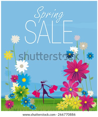 Silhouette of a girl carrying shopping bags with a flowery and colorful background. - stock vector