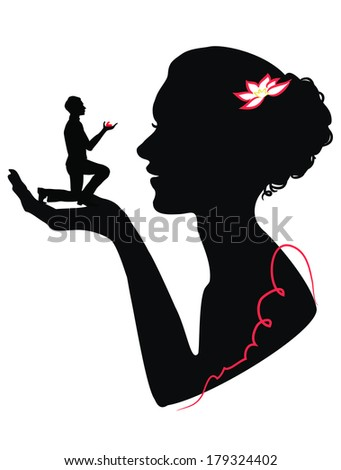 Silhouette of a girl holding in hand silhouette of a man with a marriage proposal - stock vector