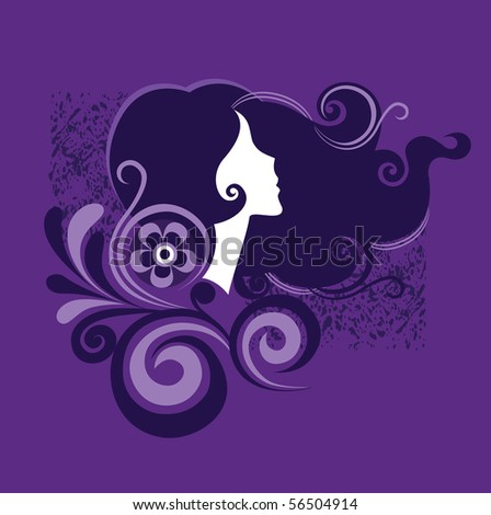 silhouette of a girl in profile2 - stock vector