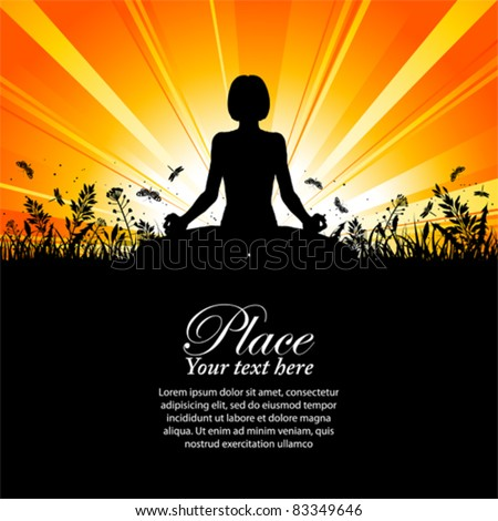 Silhouette of a Girl in Yoga pose on Nature background with grass, flower and butterfly, element for design, vector illustration - stock vector