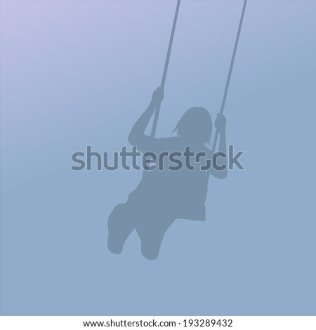 Silhouette of a girl on a swing. Childhood. Vector - stock vector