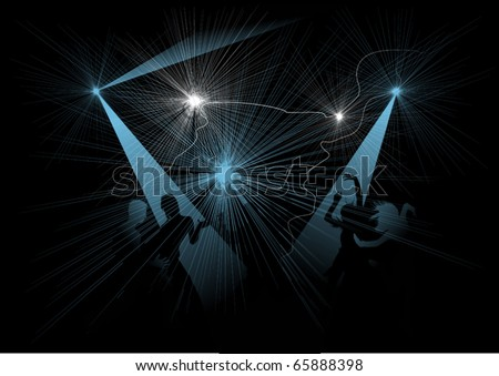 silhouette of a girl on stage disco (vector illustration); - stock vector