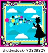 silhouette of a girl playing with soap bubbles in a colorful abstract surrounding (raster version) - stock photo