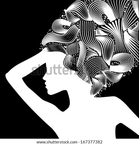 silhouette of a girl with abstract hair. Vector - stock vector