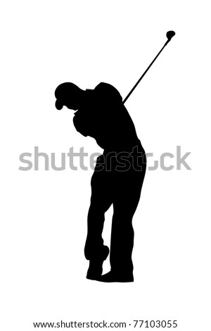 Silhouette of a golfer - stock vector