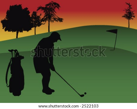silhouette of a golfer playing golf in a golf course