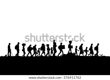 Silhouette of a group of refugees walking through a field - stock vector