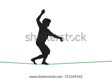 Silhouette of a guy walking on tightrope - stock vector