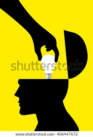 Silhouette of a hand picking up a light bulb from human head, analogy of stealing ideas - stock vector