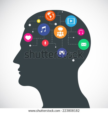 Silhouette of a human head with flat Icons, social media, communication.