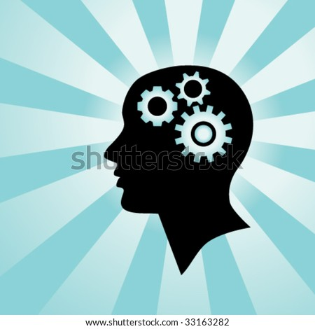 Silhouette of a human head with gears in it, representing a person who is thinking - stock vector