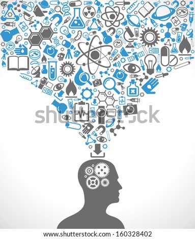 Silhouette of a human head with gears in place of the brain. Above his head is a lot of icons. The concept of scientific discoveries. The idea of learning. Modern technological solutions