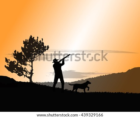 silhouette of a hunter with dog, background