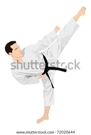 Silhouette of a karateka doing standing side kick - stock vector