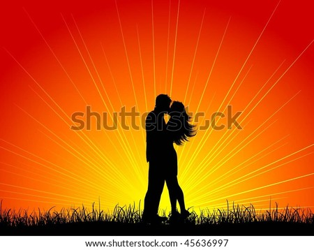 Silhouette of a kissing couple - stock vector