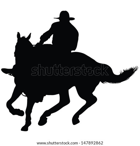 Silhouette of a lone rider wearing a rancher's hat - stock vector