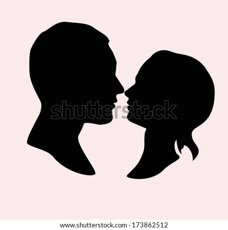 Silhouette of a loving couple. Vector  - stock vector