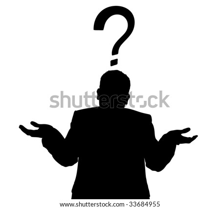 Silhouette of a man in a business suit giving a shrug with a question mark - stock vector