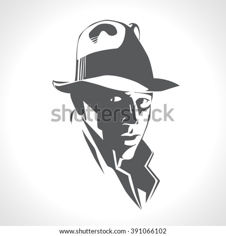 Silhouette of a man in a hat and suit on white background vector. Black and white picture, retro american detective, poster, sign usage. Illustration in style noir - stock vector