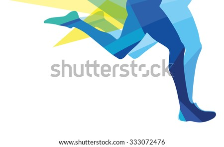 Silhouette of a man running legs transparent overlay colors - stock vector