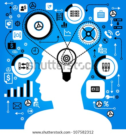 silhouette of a man's head with a business icon and gears, the concept of the information movement in modern business. - stock vector