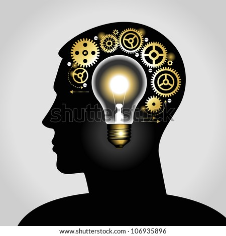 silhouette of a man's head with a glowing light bulb, and gears. the concept of making big idea. File is saved in AI10 EPS - stock vector