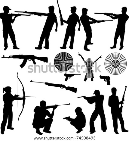 silhouette of a man shooting and firearms - stock vector