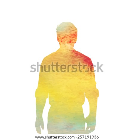 silhouette of a man. watercolor - stock vector