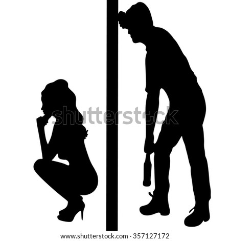 Silhouette of a man with a beer bottle, drunk man and sad worried woman - stock vector